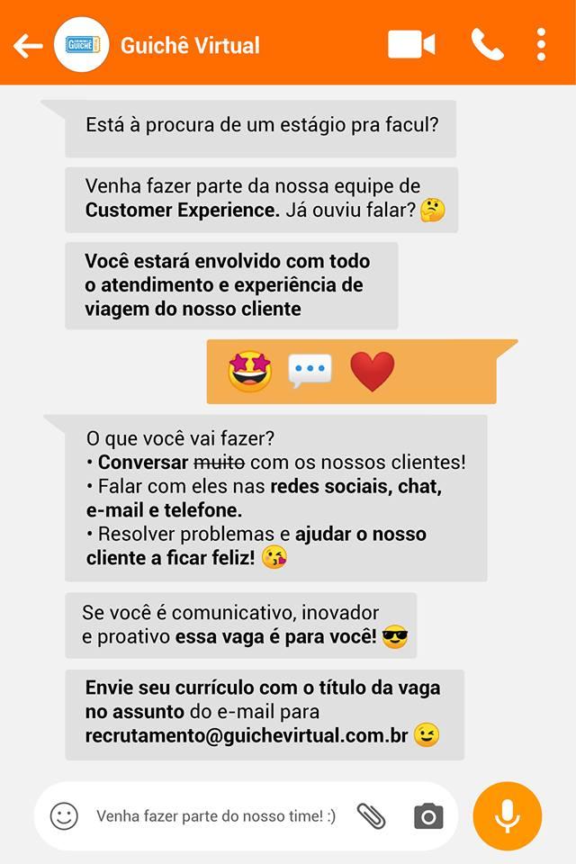 O Guichê Virtual está contratando estagiário de Customer Experience, em São  José dos Campo (SP). 26ae33dfef